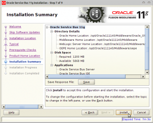 Oracle Service Bus 11g Installation - Step 7 of 9