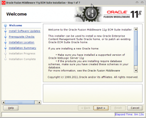 Oracle Fusion Middleware 11g ECM Suite Installation - Step 1 of 7