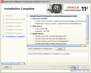 Oracle Fusion Middleware 11g ECM Suite Installation - Step 7 of 7
