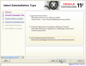 Oracle Fusion Middleware 11g Deinstallation - Step 2 of 7